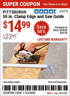 Harbor Freight Coupon 50 CLAMP EDGE AND SAW GUIDE Lot No. 56363, 66581 Expired: 10/31/20 - $14.99