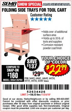 Harbor Freight Coupon FOLDING SIDE TRAYS FOR TOOL CART Lot No. 56443,64641,64642,64724,64725,64726,62207 Expired: 11/24/19 - $22.99