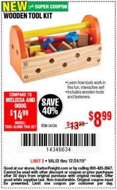 Harbor Freight Coupon WOODEN TOOL KIT Lot No. 56536 Expired: 12/24/19 - $8.99
