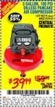 Harbor Freight Coupon 3 GALLON, 100 PSI OILLESS PANCAKE AIR COMPRESSOR Lot No. 95275/60637/69486/61615 Expired: 10/21/15 - $39.99