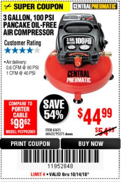 Harbor Freight Coupon 3 GALLON, 100 PSI OILLESS PANCAKE AIR COMPRESSOR Lot No. 95275/60637/69486/61615 Expired: 10/14/18 - $44.99