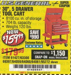 "Harbor Freight Coupon 30"", 5 DRAWER TOOL CART Lot No. 95272/69397/61427 Expired: 5/22/18 - $159.99"
