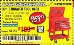 "Harbor Freight Coupon 30"", 5 DRAWER TOOL CART Lot No. 95272/69397/61427 Expired: 11/12/17 - $159.99"