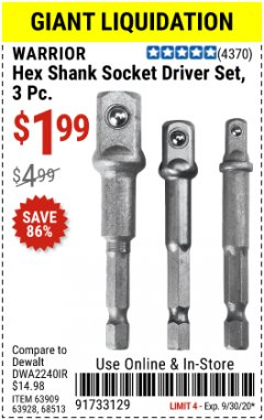 Harbor Freight Coupon 3 PIECE HEX SHANK SOCKET DRIVER SET Lot No. 63909/63928/68513 Valid Thru: 9/30/20 - $1.99