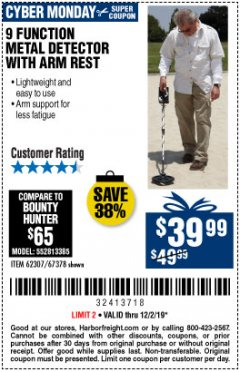 Harbor Freight Coupon 9 FUNCTION METAL DETECTOR Lot No. 62307 Expired: 12/2/19 - $39.99