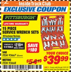 Harbor Freight ITC Coupon 15 PIECE SERVICE WRENCH SETS Lot No. 93667/93668 Valid Thru: 12/31/19 - $39.99