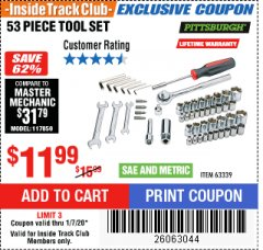 Harbor Freight ITC Coupon 53 PIECE TOOL SET Lot No. 63339 Expired: 1/7/20 - $11.99