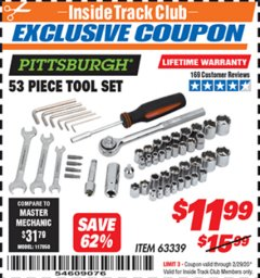 Harbor Freight ITC Coupon 53 PIECE TOOL SET Lot No. 63339 Expired: 2/29/20 - $11.99