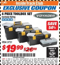 Harbor Freight ITC Coupon 4 PIECE TOOLBOX SET Lot No. 3721 Expired: 6/30/18 - $19.99