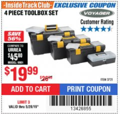 Harbor Freight ITC Coupon 4 PIECE TOOLBOX SET Lot No. 3721 Expired: 5/28/19 - $19.99