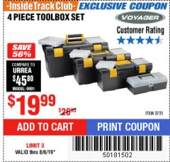Harbor Freight ITC Coupon 4 PIECE TOOLBOX SET Lot No. 3721 Expired: 8/6/19 - $19.99