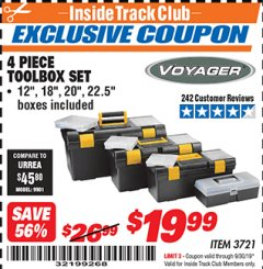 Harbor Freight ITC Coupon 4 PIECE TOOLBOX SET Lot No. 3721 Expired: 9/30/19 - $19.99