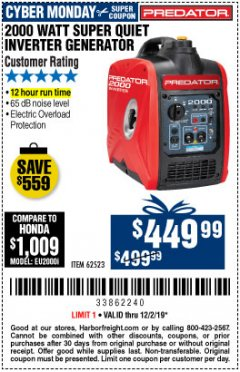 Harbor Freight Coupon 2000 WATT SUPER QUIET INVERTER GENERATOR Lot No. 62523 Expired: 12/2/19 - $449.99