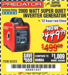 Harbor Freight Coupon 2000 WATT SUPER QUIET INVERTER GENERATOR Lot No. 62523 Valid: 12/17/19 - 2/12/20 - $449.99