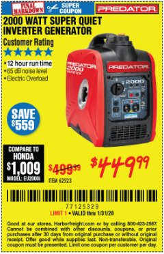 Harbor Freight Coupon 2000 WATT SUPER QUIET INVERTER GENERATOR Lot No. 62523 Valid Thru: 1/31/20 - $449.99