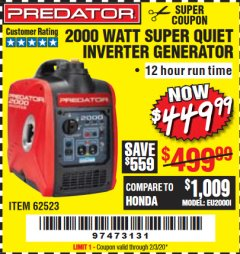 Harbor Freight Coupon 2000 WATT SUPER QUIET INVERTER GENERATOR Lot No. 62523 Valid Thru: 2/3/20 - $449.99