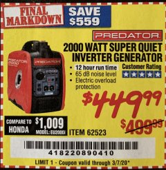Harbor Freight Coupon 2000 WATT SUPER QUIET INVERTER GENERATOR Lot No. 62523 Valid Thru: 3/7/20 - $449.99