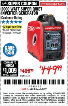 Harbor Freight Coupon 2000 WATT SUPER QUIET INVERTER GENERATOR Lot No. 62523 Valid Thru: 2/7/20 - $449.99