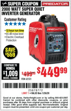 Harbor Freight Coupon 2000 WATT SUPER QUIET INVERTER GENERATOR Lot No. 62523 Valid Thru: 1/26/20 - $449.99