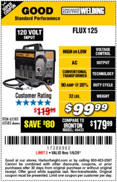 Harbor Freight Coupon CHICAGO ELECTRIC FLUX 125 WELDER Lot No. 63583, 63582 Expired: 1/6/20 - $99.99