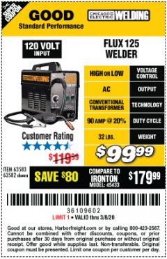 Harbor Freight Coupon CHICAGO ELECTRIC FLUX 125 WELDER Lot No. 63583, 63582 Expired: 2/8/20 - $99.99