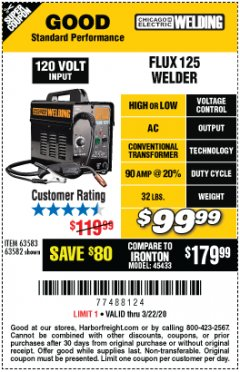 Harbor Freight Coupon CHICAGO ELECTRIC FLUX 125 WELDER Lot No. 63583, 63582 Expired: 3/22/20 - $99.99