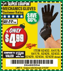 Harbor Freight Coupon MECHANICS GLOVES Lot No. 62432/64178/64179/62426/62433/62429/62434/62428 Valid Thru: 2/15/20 - $4.99