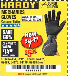 Harbor Freight Coupon MECHANICS GLOVES Lot No. 62432/64178/64179/62426/62433/62429/62434/62428 Valid Thru: 2/12/20 - $4.99