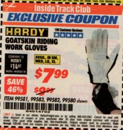 Harbor Freight ITC Coupon GOATSKIN RIDING WORK GLOVES Lot No. 99581/99583/99582/99580 Expired: 7/31/19 - $7.99