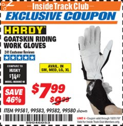 Harbor Freight ITC Coupon GOATSKIN RIDING WORK GLOVES Lot No. 99581/99583/99582/99580 Expired: 10/31/19 - $7.99