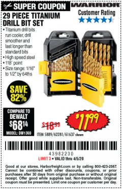 Harbor Freight Coupon $5 WARRIOR 29 PIECE TITANIUM DRILL BIT SET WHEN YOU SPEND $49.99 Lot No. 62281, 5889, 61637 Expired: 6/30/20 - $11.99