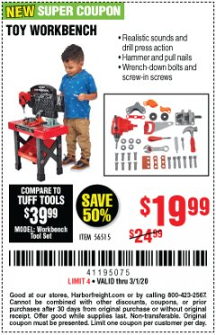 Harbor Freight Coupon TOY WORKBENCH Lot No. 56515 Expired: 3/1/20 - $19.99
