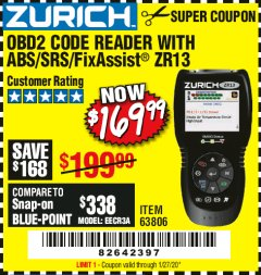 Harbor Freight Coupon OBD2 CODE READER WITH ABS/SRS/FIXASSIST ZR13 Lot No. 63806 Valid Thru: 1/27/20 - $169.99