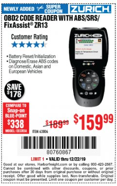 Harbor Freight Coupon OBD2 CODE READER WITH ABS/SRS/FIXASSIST ZR13 Lot No. 63806 Expired: 12/22/19 - $159.99