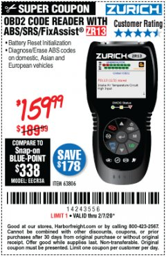 Harbor Freight Coupon OBD2 CODE READER WITH ABS/SRS/FIXASSIST ZR13 Lot No. 63806 Valid: 1/6/20 - 2/7/20 - $189.99