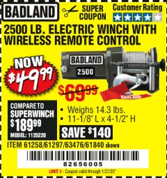 Harbor Freight Coupon BADLAND 2500 LB. ELECTRIC WINCH WITH WIRELESS REMOTE CONTROL Lot No. 61258/61297/64376/61840 Expired: 1/27/20 - $49.99