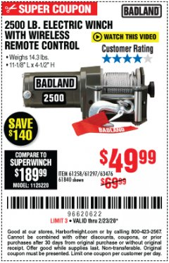 Harbor Freight Coupon BADLAND 2500 LB. ELECTRIC WINCH WITH WIRELESS REMOTE CONTROL Lot No. 61258/61297/64376/61840 Expired: 2/23/20 - $49.99