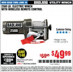 Harbor Freight Coupon BADLAND 2500 LB. ELECTRIC WINCH WITH WIRELESS REMOTE CONTROL Lot No. 61258/61297/64376/61840 Expired: 6/30/20 - $49.99