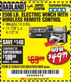 Harbor Freight Coupon BADLAND 2500 LB. ELECTRIC WINCH WITH WIRELESS REMOTE CONTROL Lot No. 61258/61297/64376/61840 Expired: 6/21/20 - $49.99