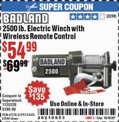 Harbor Freight Coupon BADLAND 2500 LB. ELECTRIC WINCH WITH WIRELESS REMOTE CONTROL Lot No. 61258/61297/64376/61840 Valid: 9/8/20 - 10/16/20 - $54.99
