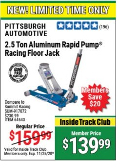Harbor Freight ITC Coupon PITTSBURGH RAPID PUMP 2.5 TON ALUMINUM FLOOR JACK Lot No. 64553/64543 Expired: 11/25/20 - $139.99