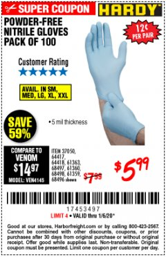 Harbor Freight Coupon HARDY POWDER-FREE NITRILE GLOVES PACK OF 100 Lot No. 37050/97581/64417/64418/61363/68497/61360/68498/61359/68496 Expired: 1/6/20 - $5.99