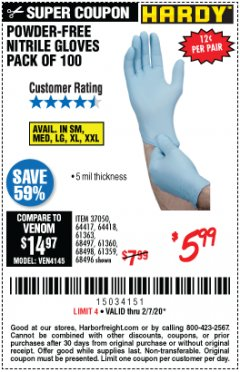 Harbor Freight Coupon HARDY POWDER-FREE NITRILE GLOVES PACK OF 100 Lot No. 37050/97581/64417/64418/61363/68497/61360/68498/61359/68496 Valid Thru: 2/7/20 - $5.99