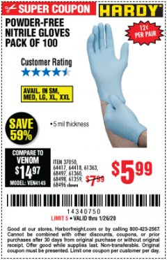 Harbor Freight Coupon HARDY POWDER-FREE NITRILE GLOVES PACK OF 100 Lot No. 37050/97581/64417/64418/61363/68497/61360/68498/61359/68496 Valid Thru: 1/26/20 - $5.99