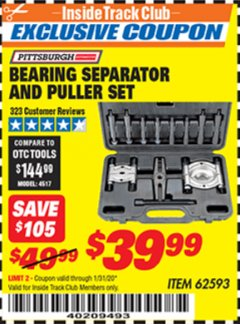 Harbor Freight ITC Coupon BEARING SEPARATOR AND PULLER SET Lot No. 62593 Valid: 12/31/19 - 1/31/20 - $39.99