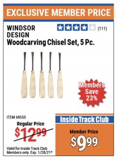 Harbor Freight ITC Coupon 5 PIECE WOODCARVING CHISEL SET Lot No. 69553 Valid: 1/5/21 - 1/28/21 - $9.99