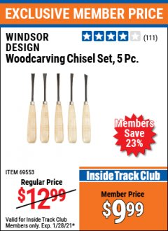 Harbor Freight ITC Coupon 5 PIECE WOODCARVING CHISEL SET Lot No. 69553 Valid: 1/1/21 - 1/28/21 - $9.99