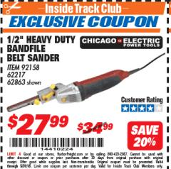 "Harbor Freight ITC Coupon 1/2"" HEAVY DUTY BANDFILE BELT SANDER Lot No. 62217/92158 Expired: 5/31/18 - $27.99"