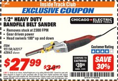 "Harbor Freight ITC Coupon 1/2"" HEAVY DUTY BANDFILE BELT SANDER Lot No. 62217/92158 Expired: 8/31/18 - $27.99"