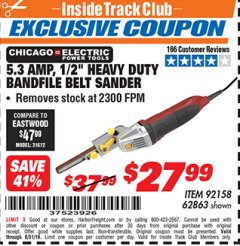 "Harbor Freight ITC Coupon 1/2"" HEAVY DUTY BANDFILE BELT SANDER Lot No. 62217/92158 Expired: 8/31/19 - $27.99"